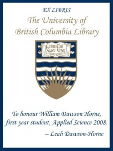 UBC Bookplate for William Dawson Horne