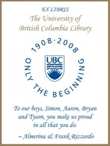 UBC Centenary Bookplate for Simon, Aaron, Bryan and Tyson