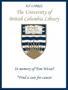 UBC Bookplate from Darcy Tagg