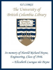 UBC Bookplate for Harold Richard Payne