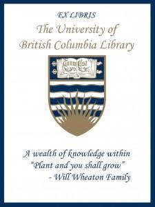 UBC Bookplate from Jadeene Wheaton