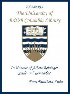UBC Bookplate from Elisabeth Anda