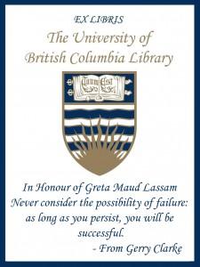 UBC Bookplate from Gerry Clarke
