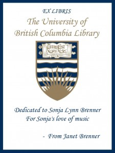 UBC Bookplate from Janet Brenner