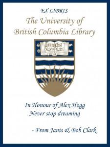 UBC Bookplate from Janis & Bob Clark