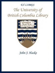 UBC Bookplate from John J. Hasko