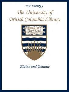 UBC Bookplate from Elaine and Johnnie