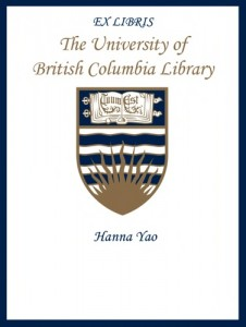 UBC Bookplate from Hanna Yao