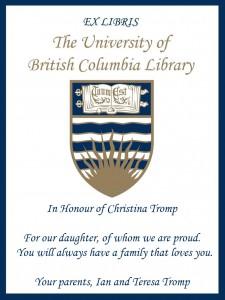 UBC Bookplate from Ian and Teresa Tromp