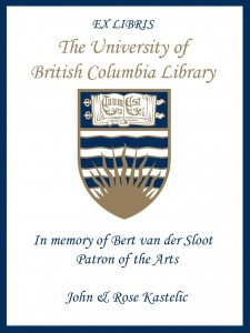 UBC Bookplate from John & Rose Kastelic
