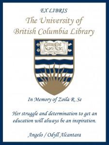 UBC Bookplate for Angelo & Odyll Alcantara