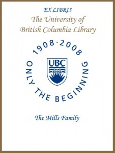 UBC Centenary Bookplate from The Mills Family