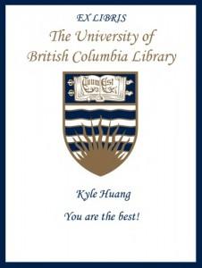 UBC Bookplate for Kyle Huang