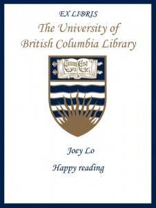 UBC Bookplate – Joey Lo