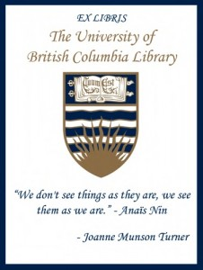 UBC Bookplate from Joanne Munson Turner