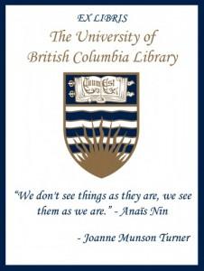 UBC Bookplate from Joanne Munson Turner
