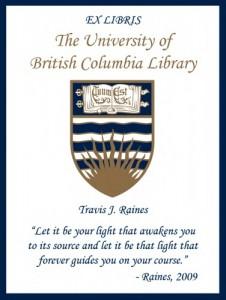 UBC Bookplate for Travis J. Raines