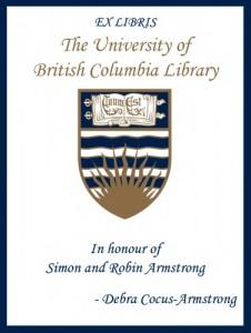 UBC Bookplate for Simon and Robin Armstrong