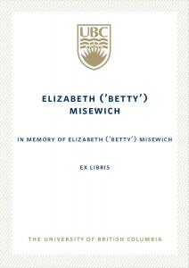 UBC Bookplate from Nadine L S Baldwin