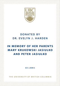 UBC Bookplate from Dr. Evelyn Harden