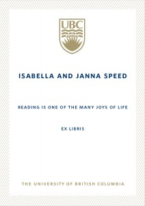 UBC Bookplate from Alan Speed