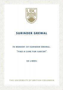 UBC Bookplate from Harminder Grewal