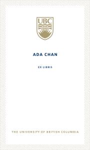 UBC Bookplate from Ada Chan