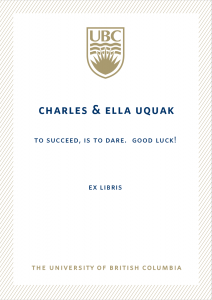 UBC Bookplate from Charles Uquak