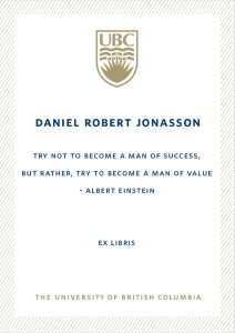 UBC Bookplate from Hans Jonasson