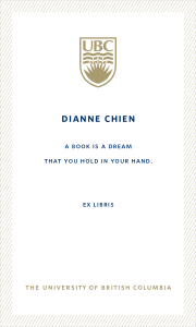 UBC Bookplate from Die Hung Chien