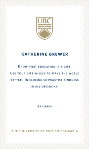 UBC Bookplate from Katherine Brewer