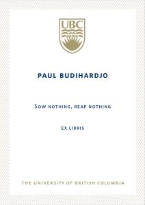 UBC Bookplate from Paul S. Budihardjo