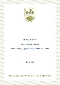 UBC Bookplate from Douglas Green