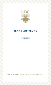 UBC Bookplate from Jenny Au-Yeung