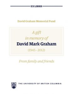Bookplate in memory of David Mark Graham