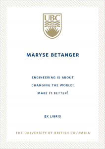 UBC Bookplate from Maryse Betanger