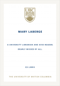 UBC Bookplate from Jim LaBerge