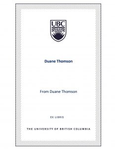 UBC Bookplate from Duane Thomson