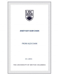 UBC Bookplate from Alex Chan