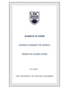 UBC Bookplate from Chi Chung Chow