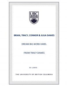 UBC Bookplate from Tracy Dawes
