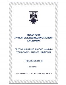 UBC Bookplate from Greg Fuhr