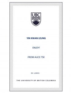 UBC Bookplate from Alice Tse