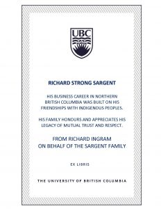 UBC Bookplate from Richard Ingram on behalf of the Sargent Family